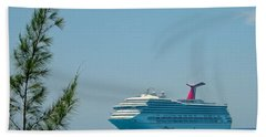 Cruise Ship At Half Moon Cay Hand Towel