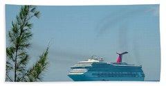 Cruise Ship At Half Moon Cay Bath Towel