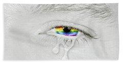 Crying Eye With Rainbow Flag Hand Towel