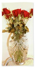 Crystal And Red Roses Hand Towel by Margie Avellino