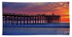 Crystal Pier In Pacific Beach Decorated With Christmas Lights Hand Towel