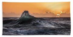 Crystal Wave Sunset Napali Coast Kauai Hawaii Bath Towel