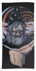 Hand Towel featuring the drawing Crystal Wizard by Michael  TMAD Finney