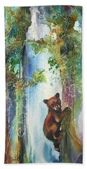 Bath Towel featuring the painting Cub Bear Climbing by Christy Freeman