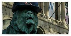 Cub Hat On Art Institute Lion Telephoto Bath Towel