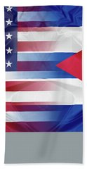 Cuba And Usa Flags Hand Towel