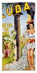 Cuba Holiday Isle Of The Tropics Vintage Poster Hand Towel