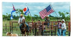 Bath Towel featuring the photograph Cuban Cowboys by Lou Novick