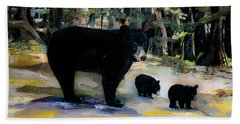 Cubs With Momma Bear - Dreamy Version - Black Bears Bath Towel