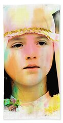 Hand Towel featuring the photograph Cuenca Kids 899 by Al Bourassa