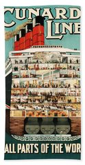 Cunard Liner Poster Hand Towel