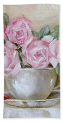 Cup And Saucer Roses Hand Towel by Chris Hobel