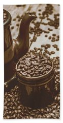 Cup And Teapot Filled With Roasted Coffee Beans Bath Towel