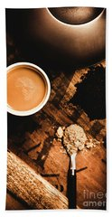 Cup Of Tea With Ingredients And Kettle On Wooden Table Hand Towel