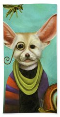 Bath Towel featuring the painting Curious As A Fox by Leah Saulnier The Painting Maniac