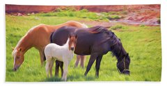 Curious Colt And Mares Hand Towel