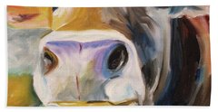 Bath Towel featuring the painting Curious Cow by Donna Tuten