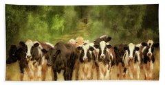 Bath Towel featuring the digital art Curious Cows by Lois Bryan