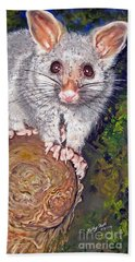 Curious Possum  Bath Towel