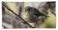 Curious Ruby-crowned Kinglet Hand Towel