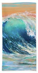 Bath Towel featuring the painting Curl At Sunset by Linda Olsen