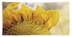 Curling Petals On Sunflower Bath Towel