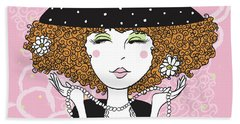 Curly Girl In Polka Dots Hand Towel