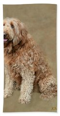 Curly Labradoodle Hand Towel by Kathy M Krause