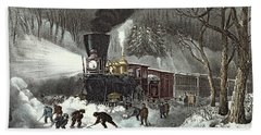 Currier And Ives Hand Towel by American Railroad Scene