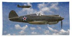 Curtis P-40 Warhawks Bath Towel by Kai Saarto