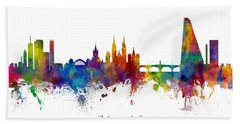 Custom Artwork Basel Switzerland Skyline Bath Towel