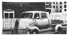 Bath Towel featuring the photograph Custom Chevy Asbury Park Nj Black And White by Terry DeLuco