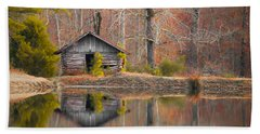 Custom Crop - Cabin By The Lake Bath Towel by Shelby  Young