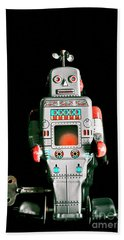 Cute 1970s Robot On Black Background Bath Towel