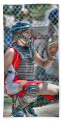 Cute Catcher In Red And White. Bath Towel