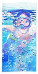 Cute Child Snorkeling Underwater Bath Towel