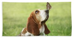 Cute Dog With Butterfly On His Nose Hand Towel