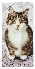 Cute Furry Friend Cat Painting Bath Towel