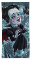 Cute Gothic Horror Vampire Woman Bath Towel by Martin Davey