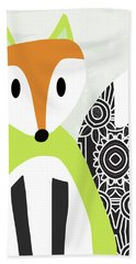 Cute Green And Black Fox- Art By Linda Woods Hand Towel