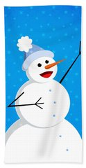 Cute Happy Snowman Hand Towel