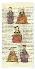 Cute Little Girls Dressed In Victorian Clothes Hand Towel