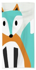 Cute Orange And Blue Fox- Art By Linda Woods Bath Towel