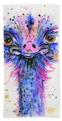 Cute Ostrich Bath Towel by Zaira Dzhaubaeva