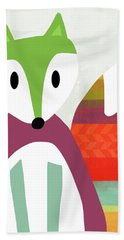 Cute Purple And Green Fox- Art By Linda Woods Hand Towel