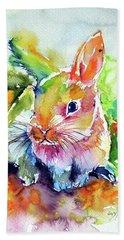 Cute Rabbit Hand Towel by Kovacs Anna Brigitta