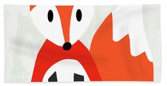 Cute Red And White Fox- Art By Linda Woods Hand Towel