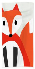 Cute Red And White Fox- Art By Linda Woods Bath Towel