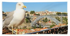 Cute Seagull And Porto's Cityscape Hand Towel