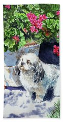 Cute Shih Tzu Dog Under Geranium  Bath Towel